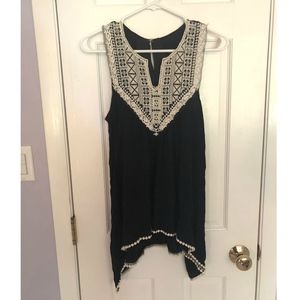 Tops - Black Tank Top with White Embroidery